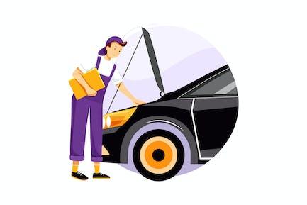 Low angle auto service to change wheels
