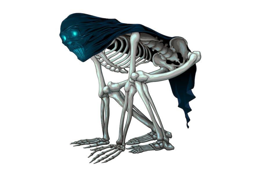 Скелет Монстр с вуаль на черепе