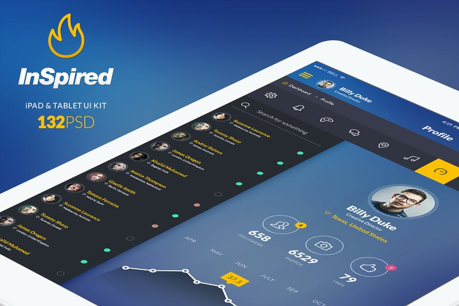 InSpired - iPad & Tablet App Design UI Kit