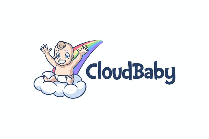 Thumbnail for Cartoon Cute Baby On Cloud and Rainbow