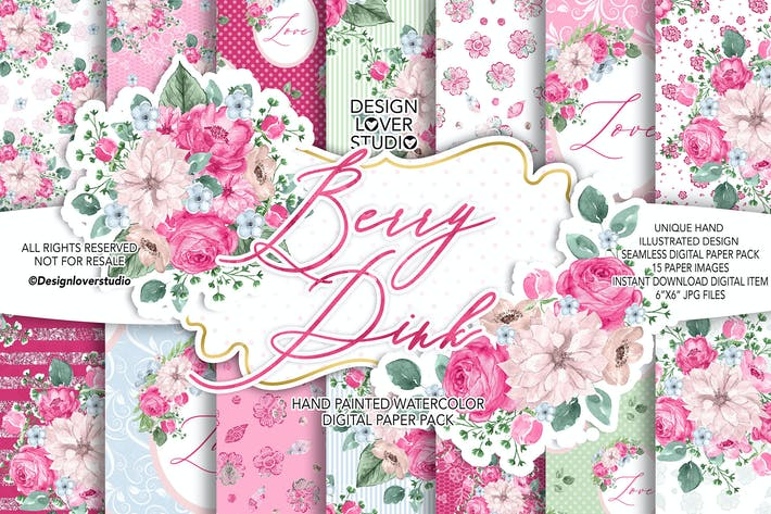 Thumbnail for Pack de papel digital Berry Pink