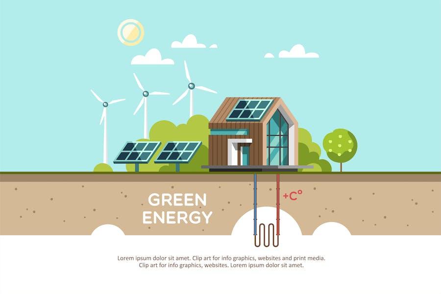Grüne Energie ein umweltfreundliches modernes Haus