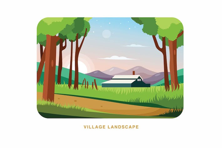 Thumbnail for Village Landscape Vector Illustration