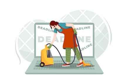 Una mujer haciendo las tareas domésticas en una gran computadora portátil