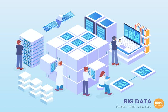 Thumbnail for Isometric Big Data Vector Concept Illustration