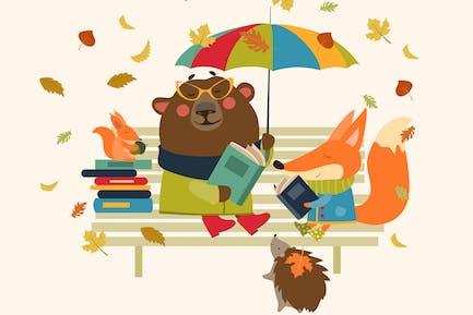 Lectura de zorro, oso, erizo y ardilla Pequeño