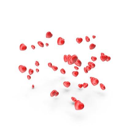 Rote Herzen fallen