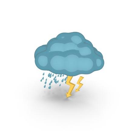 Cartoon Weather Forecast Thunderstorm