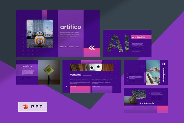 Thumbnail for ARTIFICO - Artificial Intelegent Powerpoint Templa