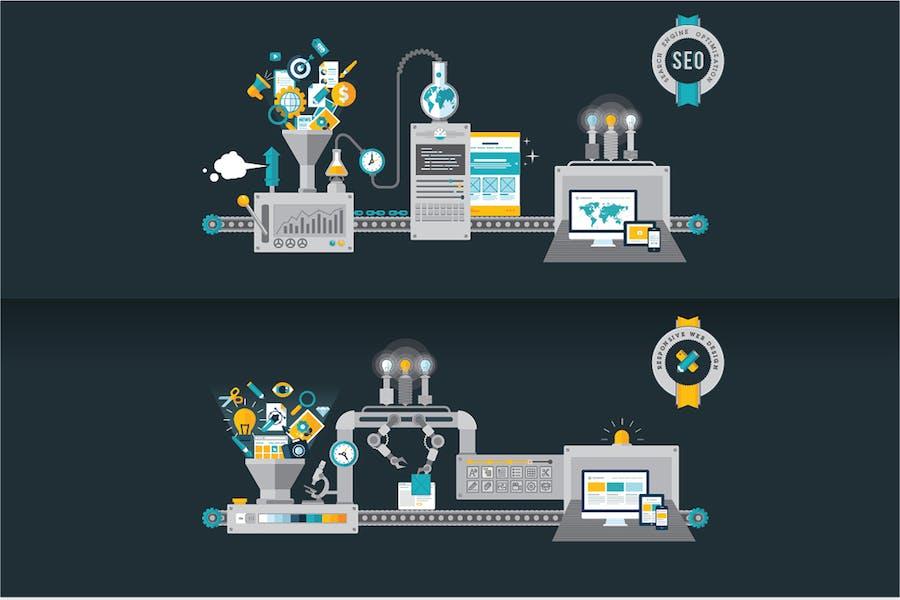 Conceptos de diseño plano para desarrollo de sitios web y SEO