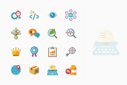 SEO & Internet Marketing Íconos Kit 4 - Serie Plana