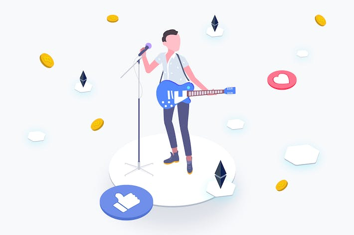 Thumbnail for Idol with Blockchain Platform Isometric