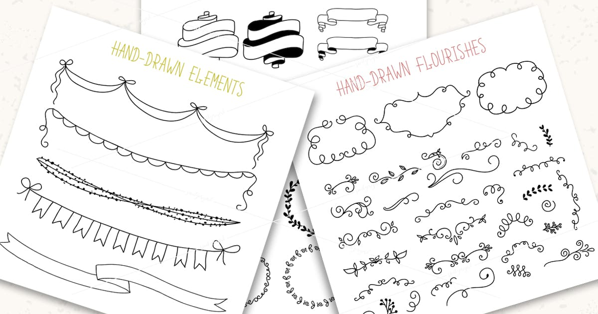 Download Hand drawn pack. Banners, frames, flourishes by switzergirl