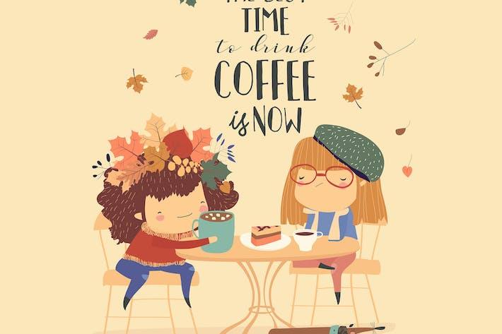 Thumbnail for Zwei nette Mädchen Freunde trinken Kaffee im Café.