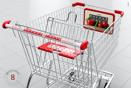 Metal Wire Shopping Cart Mockup
