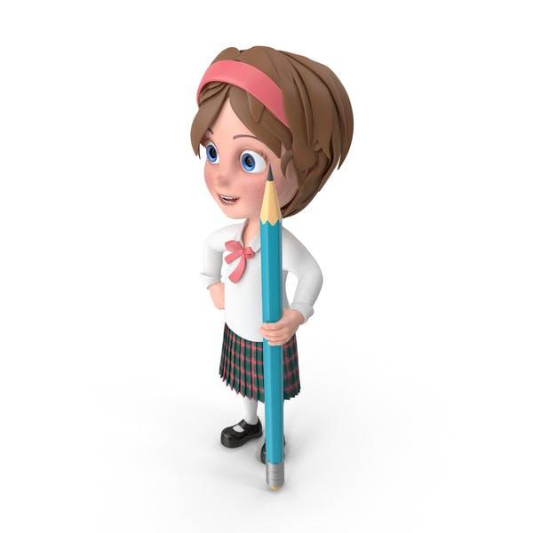 Cartoon Mädchen halten Bleistift