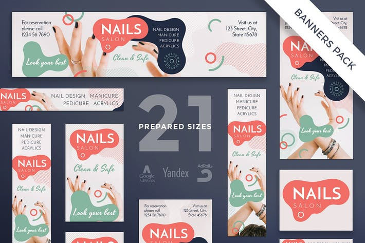 Thumbnail for Nail Salon Banner Pack Template