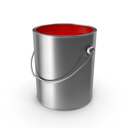 Open Metal Paint Can Red