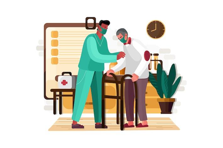 Male nurse helping old aged man