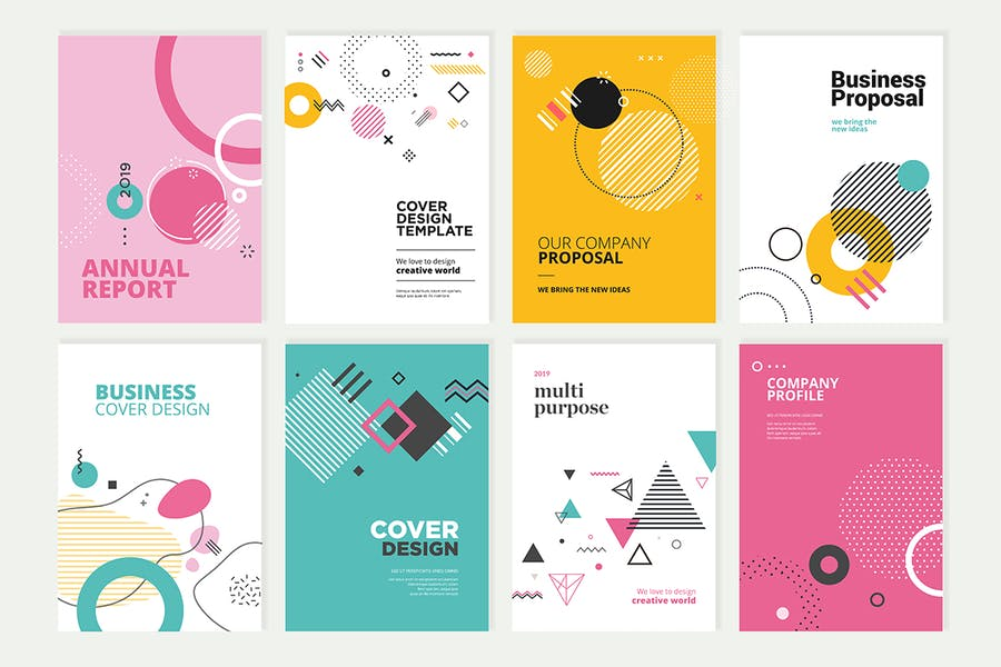 Set of brochure, annual report design templates