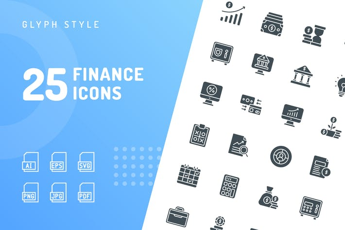 Thumbnail for Finance Glyph Icons
