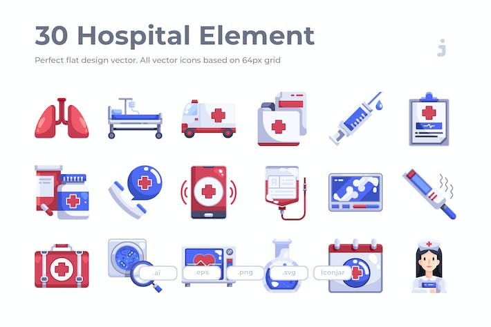 Thumbnail for 30 Hospital Element Icons - Flat