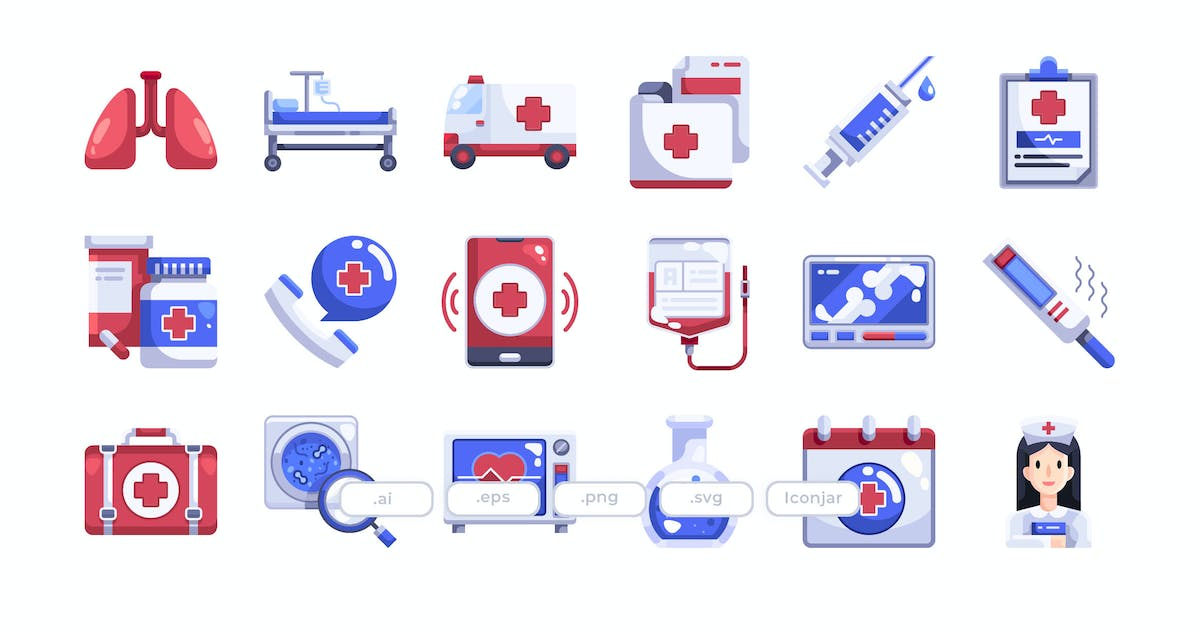 Download 30 Hospital Element Icons - Flat by Justicon