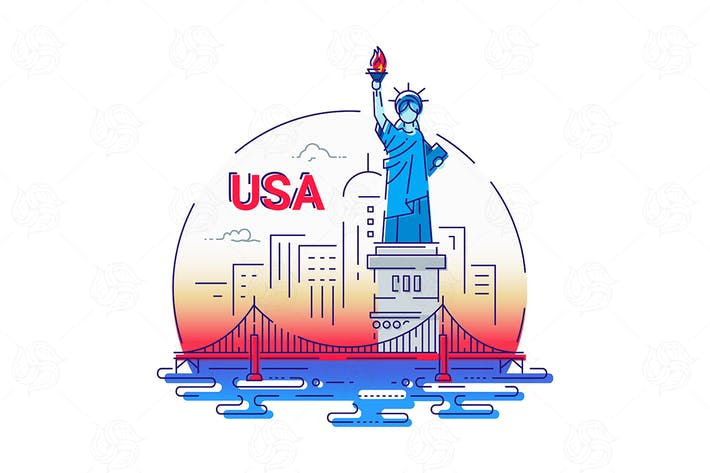 Thumbnail for USA - modern vector line travel illustration