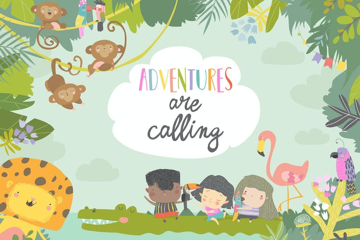Thumbnail for Vector cute frame composed of cartoon kids traveli