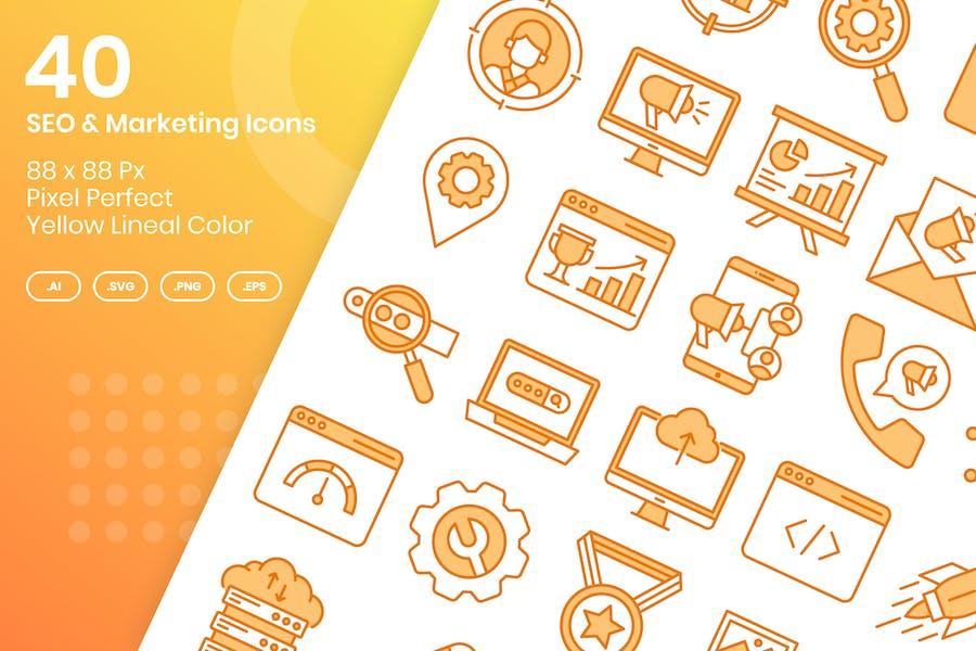 Juego de 40 Íconos SEO & Marketing - Color Lineal Amarillo
