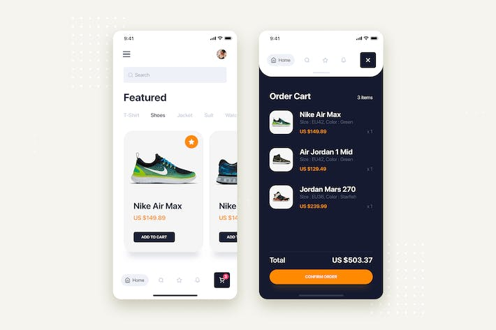 Cover Image For E-commerce Store Mobile App UI Kit Template