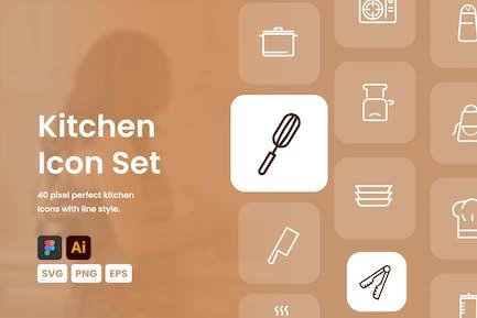 Küche Icon Set