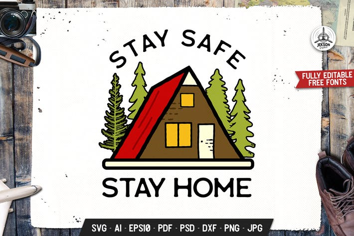 Thumbnail for Stay Safe, Stay Home, Covid-19 Coronavirus Badge