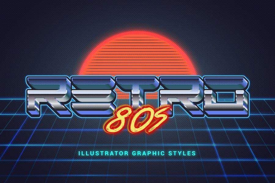 Стили ретро Illustrator 80-х годов
