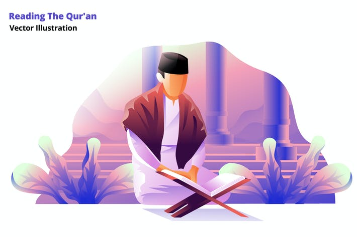 Thumbnail for Reading Quran - Vector Illustration