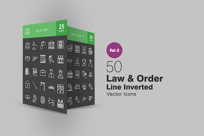Thumbnail for 50 Law & Order Line Inverted Icons