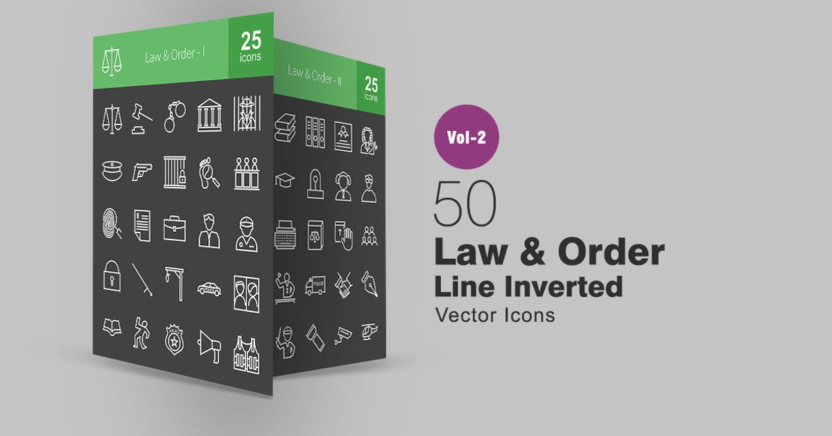 50 Law & Order Line Inverted Icons by IconBunny