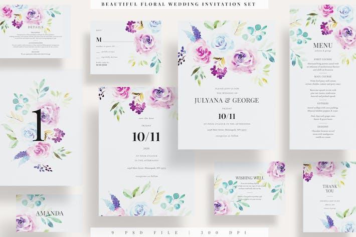 Thumbnail for Beautiful Floral Wedding Invitation Set EZ