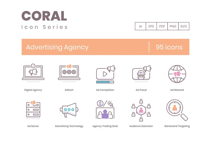 Thumbnail for 95 Advertising Agency Line Icons