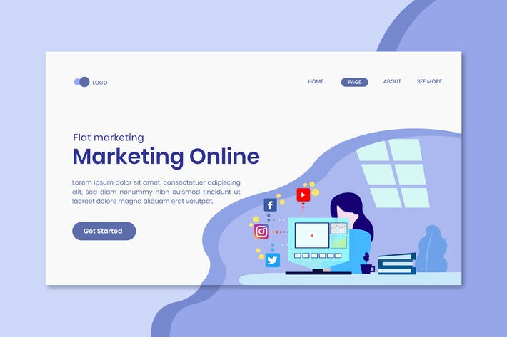 Thumbnail for Flat marketing landing page template