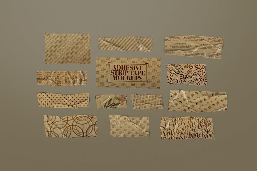 Adhesive Strip Tape Mockup Brown Kraft Paper