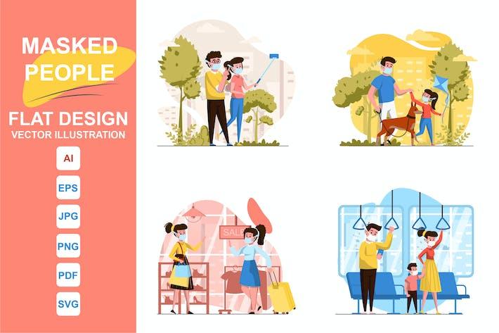 Ilustraciones Masked People Diseño Plano Concepto