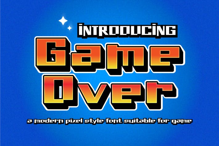 Thumbnail for Game Over - Modern Pixel Style Font