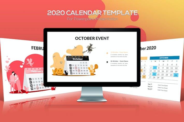 Thumbnail for Шаблон Powerpoint календаря 2020