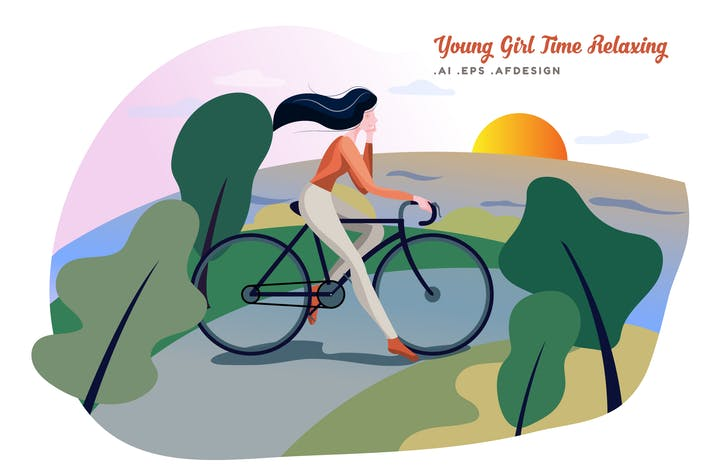 Thumbnail for Young Beautiful Girl Romantic Time Relaxing Vector