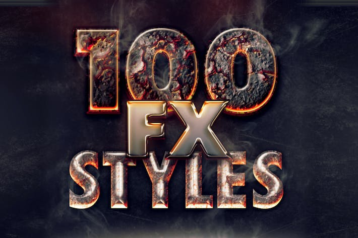 Cover Image For 100 Photoshop Layer Styles Bundle - Text Effect