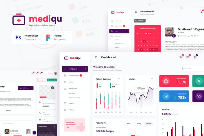 Thumbnail for Mediqu - Hospital Admin Dashboard UI Template