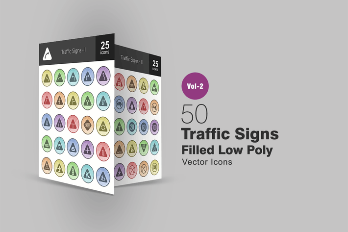50 Traffic Signs Filled Low Poly Icons