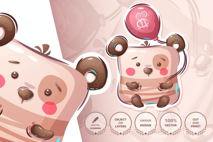 Bear with balloon - seamless pattern