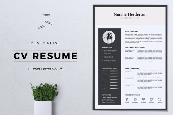 Thumbnail for Minimalist CV Resume Vol. 25